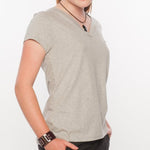 Loskey V-Neck T-Shirt in Grey Organic Cotton