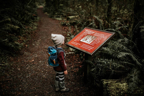 kid in the woods reading a sign