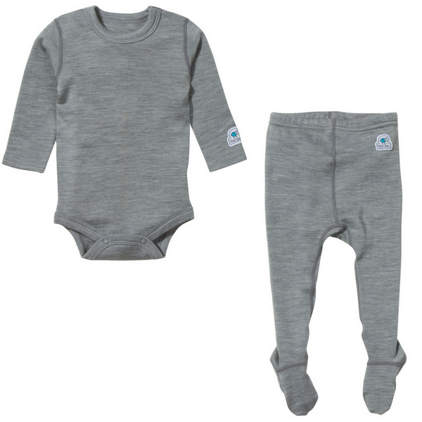 Ella's Wool Baby Base Layer Set (Marl-Gray)
