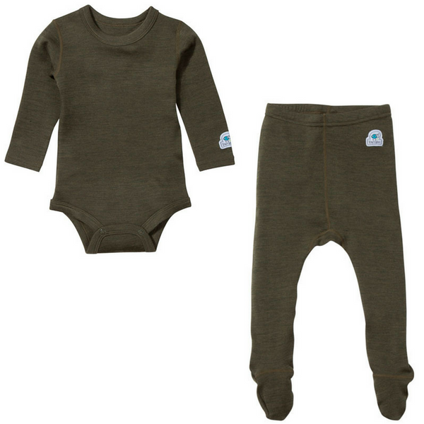 Ella's Wool Baby Base Layer Set (Moss Green)