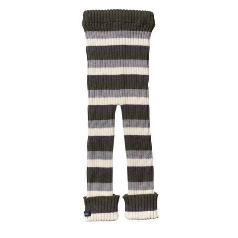 TUBES - Knit Leggings - Olive Green Striped