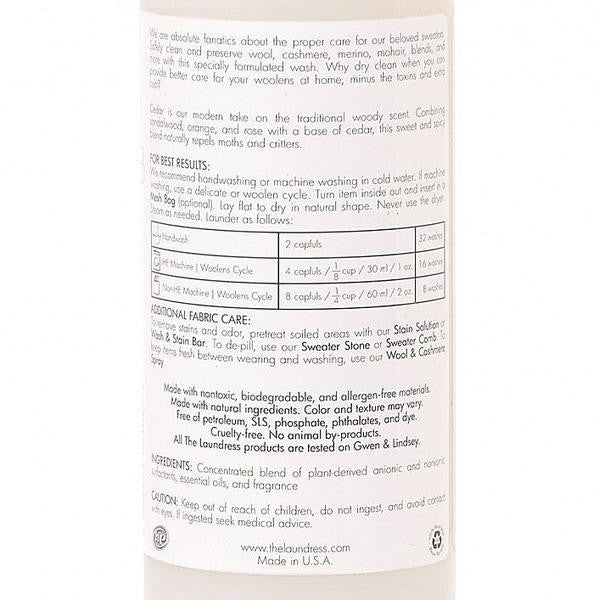 the laundress wool and cashmere shampoo label