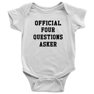 Official Four Questions Onesie Etsy