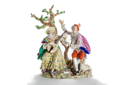 Porcelain Man & Woman Playing Music Under Tree, Germany
