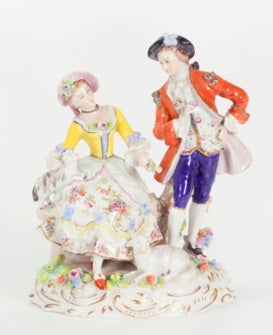 Porcelain Figurine of a Couple, Germany 19th Century