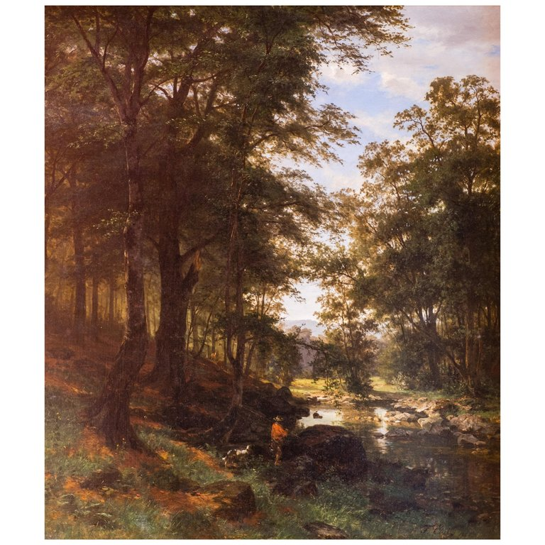 'Idyllic Scene in a Beech Grove'1868, by Friedrich Carl Werner Ebel