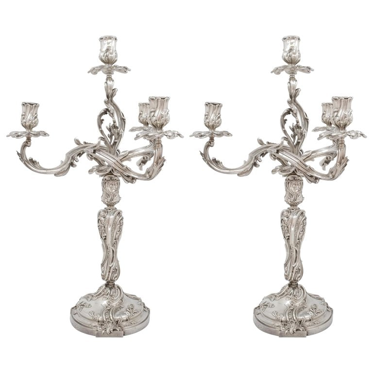 Pair of Silver Candelabras, Ernest Cardheilac, Paris, Late 19th Century
