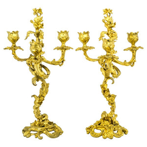 Pair of 3-Light Rococo Style Guilt Bronze, Candelabras, French, 19th Century