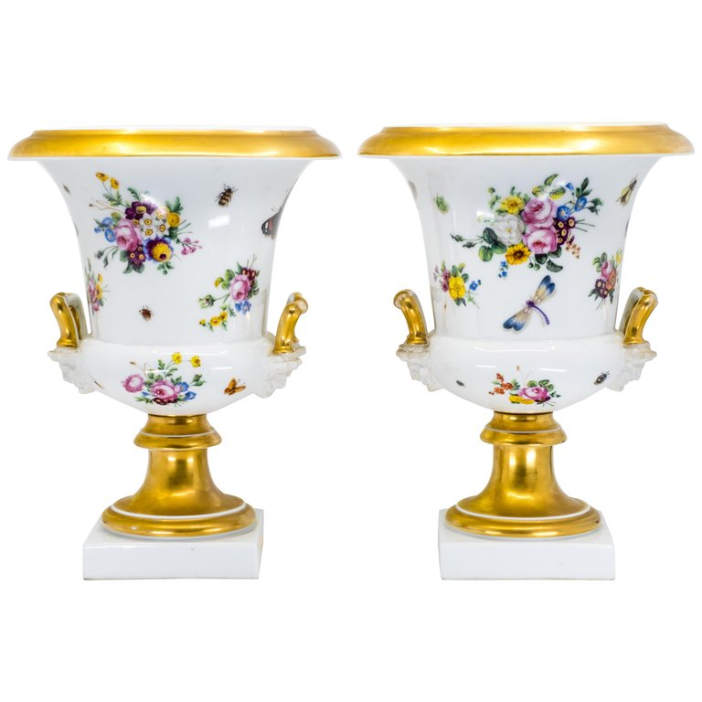 Pair of Medici Vases, Hand Painted Porcelain, French, 19th Century