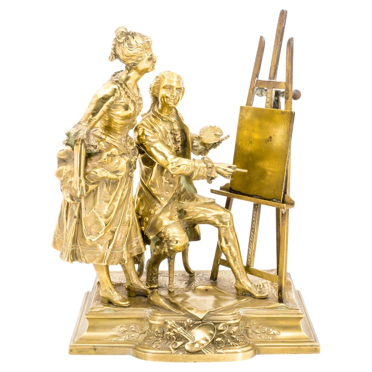 Bronze Figure Group of a Painter with a Muse, Late 19th Century