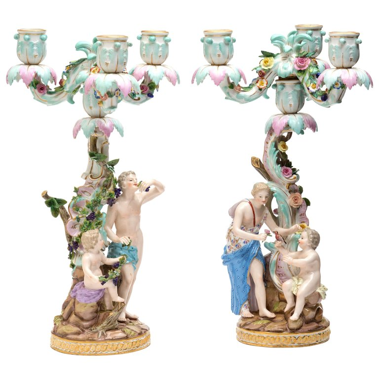 Pair of Meissen Candelabra Germany, 19th Century, Porcelain Hand Painted