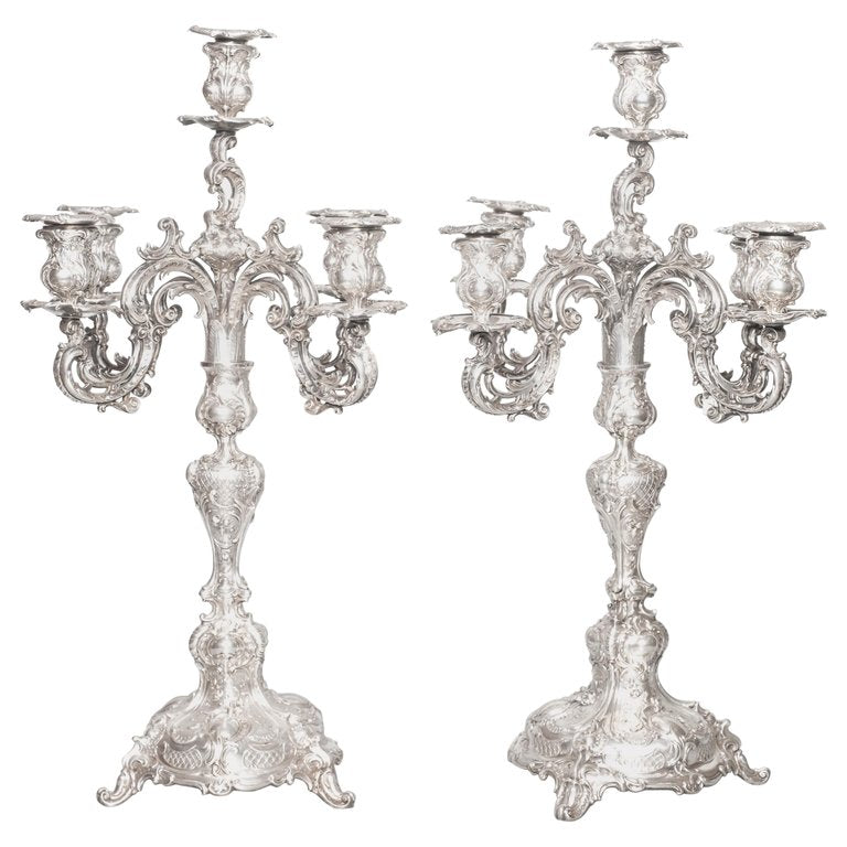 Pair of Candelabras, Bruckmann & Sohne Heilbronn, Germany, Late 19th Century