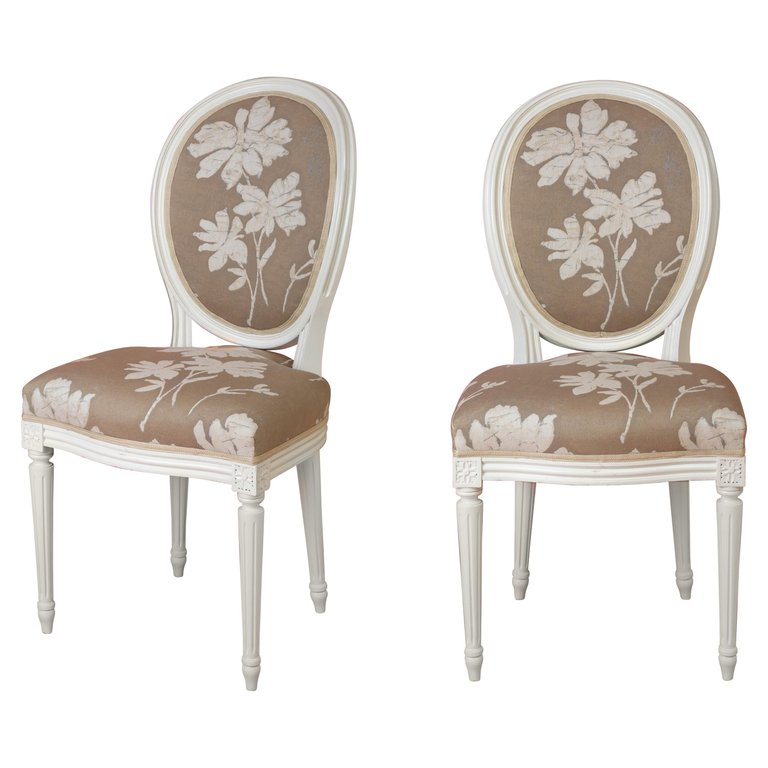 Pair of Louis XVI Style Medallion Chairs, with Natural Linen Color Fabric.