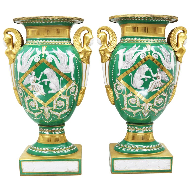 Pair of Vases, Empire Style 19th Century Paris
