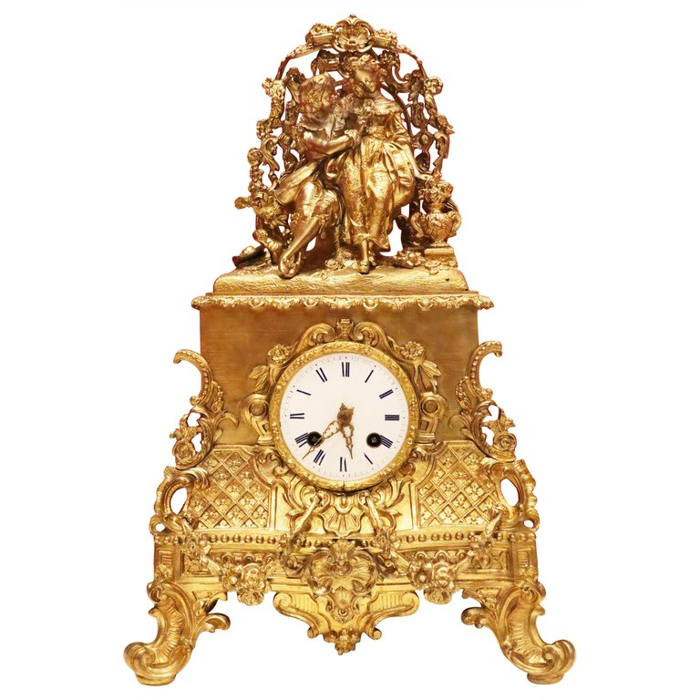 A Mantel Clock with a Couple, French Late 19th Century