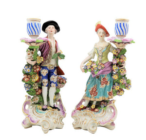 19th Century, Pair of Porcelain Candlesticks, Derby England