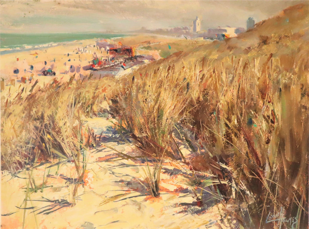 Beach Overlooking the North Sea, Leon Holmes, Modern Oil Painting