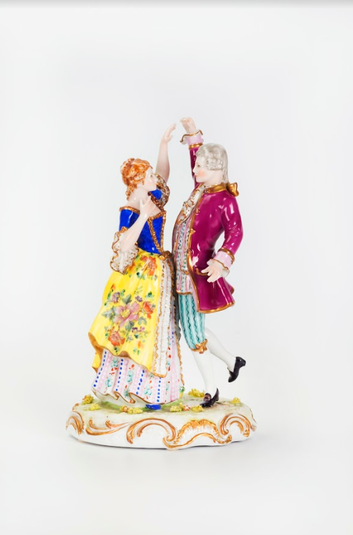 A Figurine of a Dancing Couple, Hand-Painted Porcelain, Italian, 20th Century