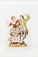 A Figurine of a Dancing Couple, Hand-Painted Porcelain, German 19th Century