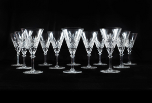 Set of 14 Liquor Glasses Hand Engraved Crystal , Eastern Europe Early 20th Century