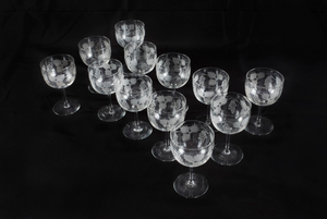 Set of 12 Wine Glasses Hand Engraved Crystal, German Late 19th Century