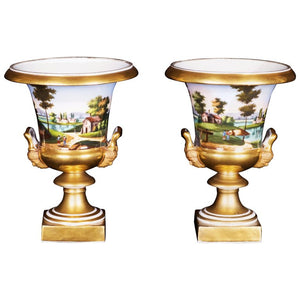 Pair of 19th Century French Medici Vases, Paris, Hand-Painted Porcelain
