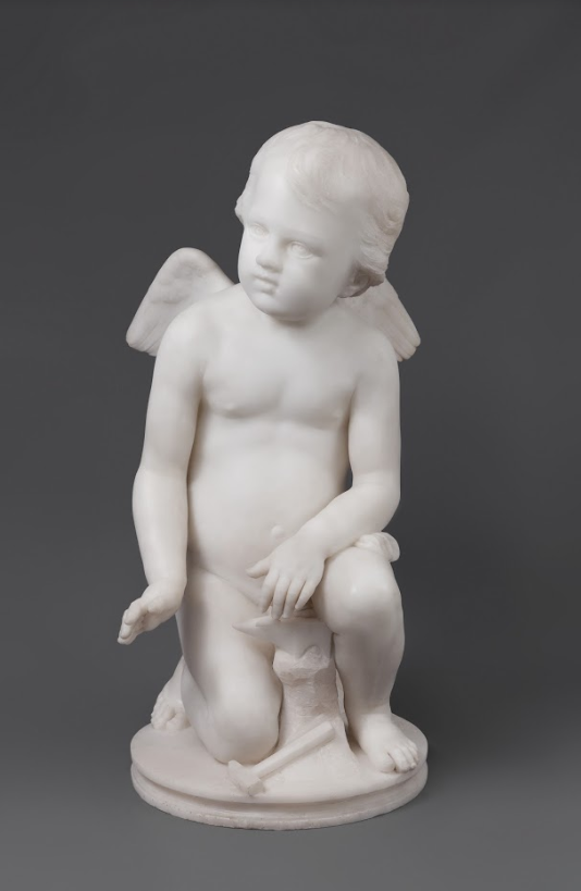 Cupid Forging the Arrows of Love White Carrara Marble Pio Fedi, Italian 18th Century