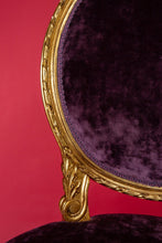 Pair of 19th Century Hand Carved with elegant Purple Velvet Chairs French Style