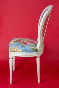 Pair of Louis XVI Style Medallion Chairs, with Peony Flowers Pattern