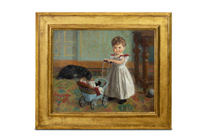 Baby Girl Playing with Doll Stroller (1897)