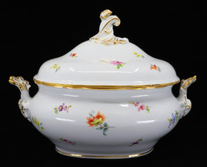 Tureen, German, Early 20th Century, Porcelain Hand-Painted Meissen