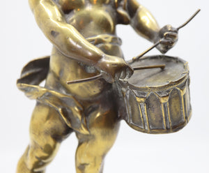 Angel Playing Tambourine Bronze 19 Century