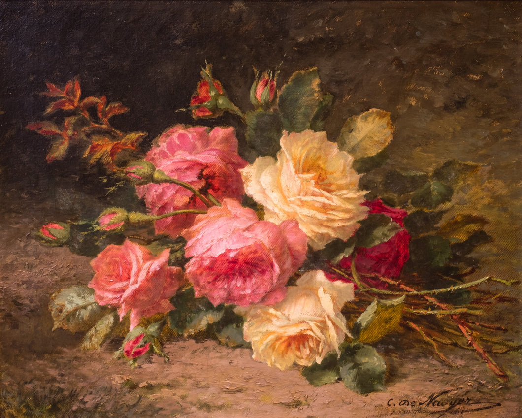 Cut Roses 'Cueillette De Roses' Oil on Canvas, 19th Century