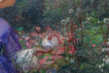 Lady in Purple Dress in the Garden, 19th Century Impressionist Style