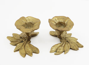 A pair of bay laurel leaves candleholders  Italy, late 19th