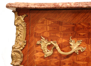 19th Century  Louis XV Bombe Marble Top French commode