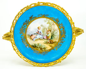 French Sèvres-style Porcelain Plate with Gilded-Bronze, Ormolu, 19th Century