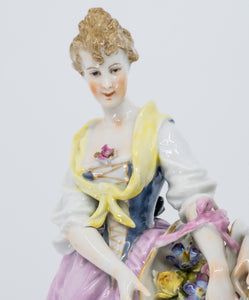Porcelain Figure of a Couple, Hand Painted, Hochst, German, 19th Century