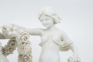 French Bisque Figure of Two Girls Holding Flowers, 19th Century