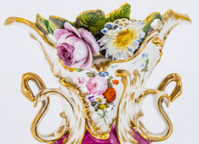 A vase with flowers and scroll handles, French 19th Century