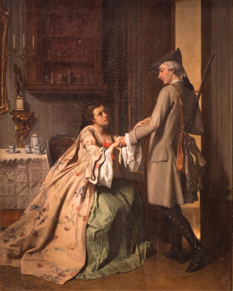 Genre Painting, Parting Lovers French, 19th Century Oil on Canvas