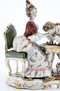 Porcelain Figurine of a Couple Playing Chess, Germany, Hand Painted