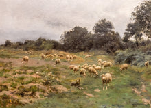 Victor J. Baptiste Barthélemy Binet, French, Sheep Grazing, 1884 Oil on Canvas