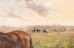 Henry Schoute, Horses in a Field, Late 19th Century, Oil on Canvas
