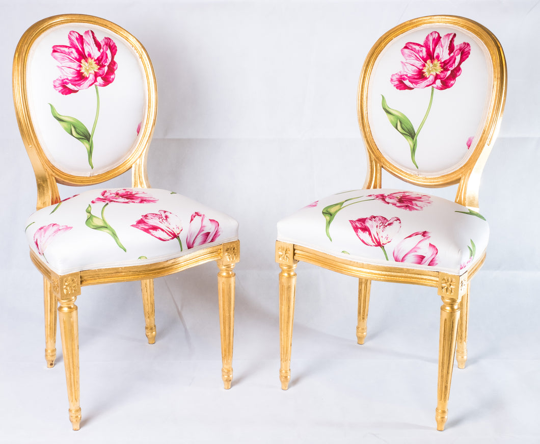 Pair of Louis XVI Style Medallion Chairs, with Red Flower Pattern