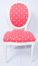 Pair of Red Chairs with White Dots, Louis XVI Style Medallion Chairs, French
