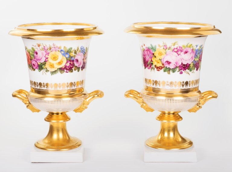 Pair of 19th Century Medici Vases, Hand-Painted Porcelain