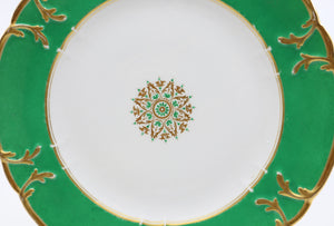 Paris Set of 12 Green Color Dinner Plates, Early 19th Century,Rihouet