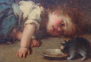 Child with a Squirrel, Hermann Kaulback, 19th Century