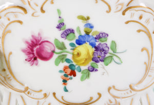 19th Century, German, Hand-Painted Basket with Flowers